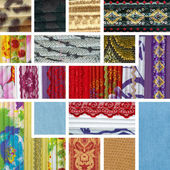 Collage of colorful pieces of fabric — Stock Photo