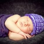 Newborn Baby Boy Sleeping Peacefully Under Soft Blanket — Stock Photo #9466758