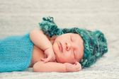 Newborn Baby Boy Sleeping Peacefully Under Soft Blanket — Stock Photo