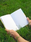 Opened book on the grass — Stock Photo