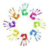 Painted handprints — Stock Photo