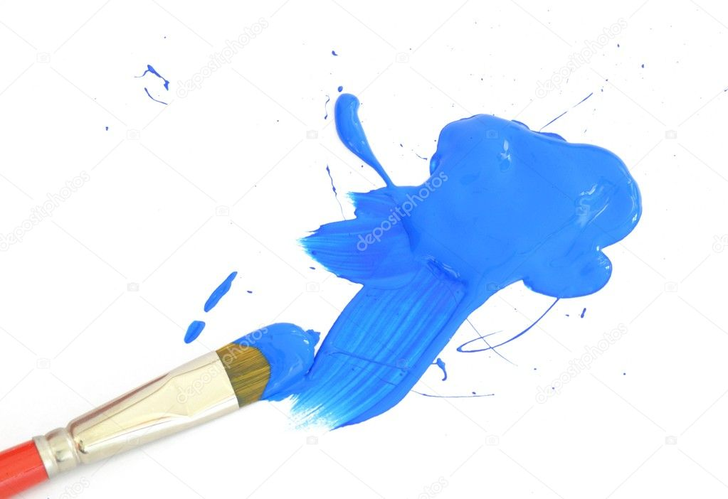 Blue color and artist brush isolated on white background — Stock Photo #9177357