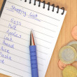 Handwritten shopping list — Stock Photo