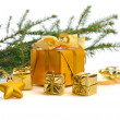 Gold  Christmas gifts — Stock Photo