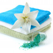 Towels with white lily — Stock Photo
