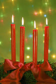 Čtyři červené svíčky — Stock fotografie