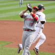 Stock Photo: Joey Votto of Cincinnati Reds catches Andy LaRoche's pop out
