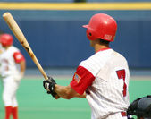Left-handed baseball batter, close-up right-handed — Stock Photo