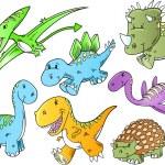 Cute Dinosaur Animal Vector Illustration Doodle Art Set — Stock Vector #10027648