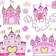 Super Cute Castle Vector Illustration Set — Stock Vector