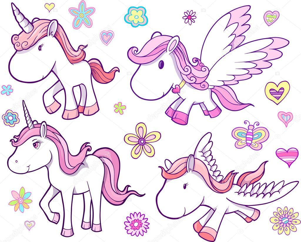 Libreta De Dibujo Mandala Unicornio Papel Blanco: Conjunto De Vectores Unicornio Y Pegasus