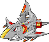 Metal Armed Robot Cyborg Shark Vector Illustration — Stock Vector