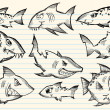 Sketch Doodle Sharks Vector Set - Imagen vectorial