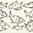 Sketch Doodle Sharks Vector Set - Vettoriali Stock 