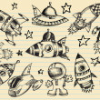Outer Space Doodle Sketch notebook Elements — Stock Vector