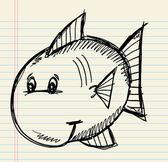 Sketch Doodle Fish Vector — Stock Vector