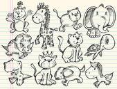 Doodle hayvanlar vektör kümesi kroki — Stok Vektör