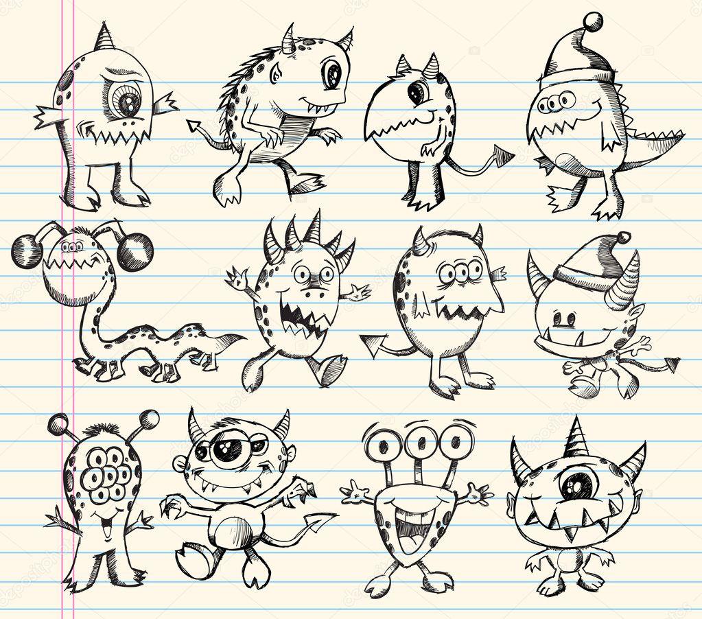 Cute Doodle Monsters Monster Alien Creature Doodle