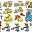 Cute Construction Vector Illustration Set - Stock Vector