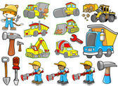 Cute Construction Vector Illustration Set — Stock Vector