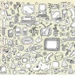 Notebook Doodle Design Elements Vector Illustration Set — Stock Vector