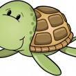 Cute Happy Sea Turtle Vector Illustration — Stock Vector
