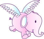 Cute Pink Flying Elephant Vector Illustration — Stock Vector