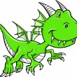 Cute Green Dragon Vector Illustration - Stock Vector