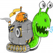 Battle Snail Tank Vector Art Illustration - Stock Vector