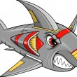 Cyborg Robot Shark Vector Art Illustration — Imagen vectorial