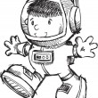 Cute Astronaut Bot Sketch Doodle Vector Art Illustration — Stock Vector