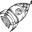 Cute Space Rocket Sketch Doodle Vector Art Illustration — Vettoriale Stock #7965509