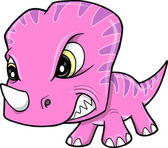 Cute Pink Angry Baby Triceratops Dinosaur Vector Art Illustration — Stock Vector