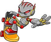 Cyborg Robot Skateboarder Vector Art Illustration — Stock Vector