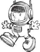 Bot carino astronauta schizzo illustrazione arte vettoriale di doodle — Vettoriale Stock