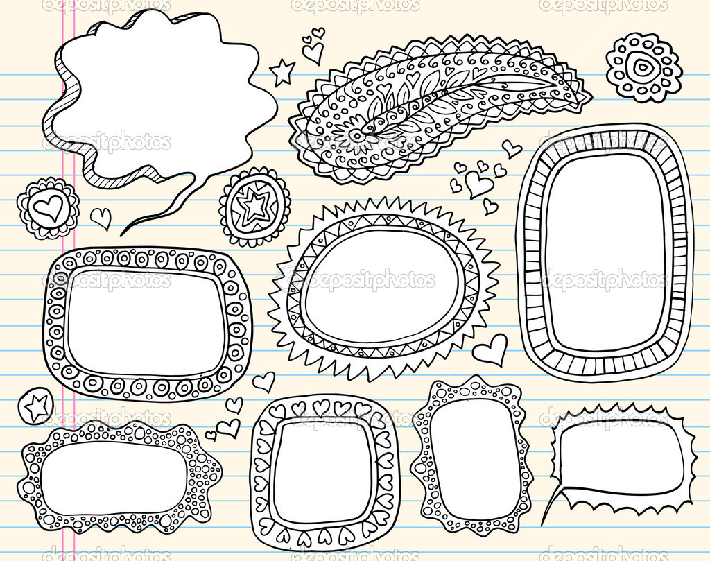 Drawn Sketch Doodle Henna Frame Set Vector illustration art  — Stock Vector #7965480