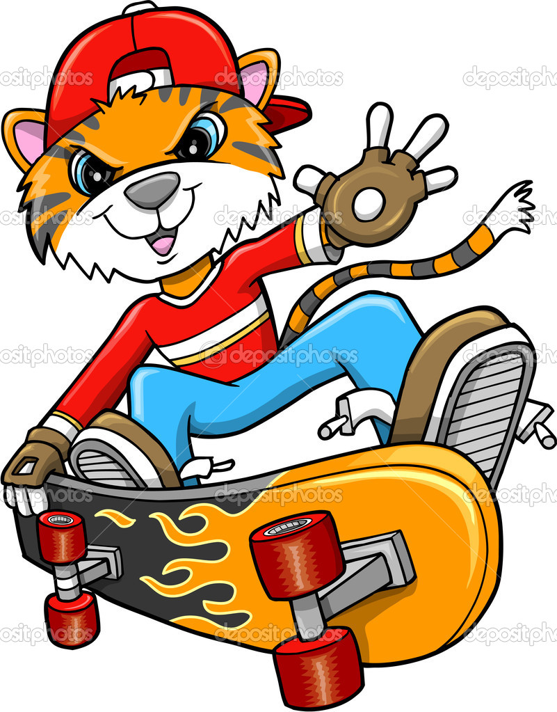 Safari Tiger Skateboarder Vector Art Illustration  — Stock Vector #7965500