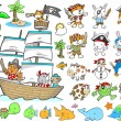 Pirate Animal Ocean Character Design Elements Vector Set — Stock Vector