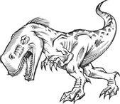 Tyrannosaurus dinosaurier skizze doodle abbildung — Stockvektor