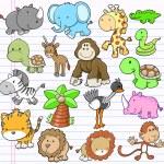 Safari Animal Vector Illustration Set — Stock Vector