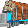 Stock Vector: Logging Truck Vector Illustration