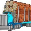 Logging Truck Vector Illustration — Stock Vector