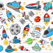 Outer Space Doodle Sketch Vector Illustration Set — Stock Vector #8236643