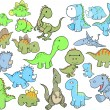 Cute Dinosaur Vector Illustration Design Set — Stock Vector