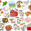Farm Animal Vector Design Elements Set — Stock Vector