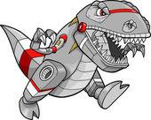 Illustration vectorielle de robot tyrannosaure dinosaure — Vecteur