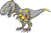 Robot Tyrannosaurus Dinosaur Vector Illustration — Stock Vector