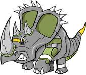 Vector Illustration of a Robot Triceratops Dinosaur — Stock Vector