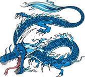 Ilustração vetorial de dragão azul — Vetor de Stock