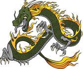 Green Dragon Vector Illustration — Stock Vector